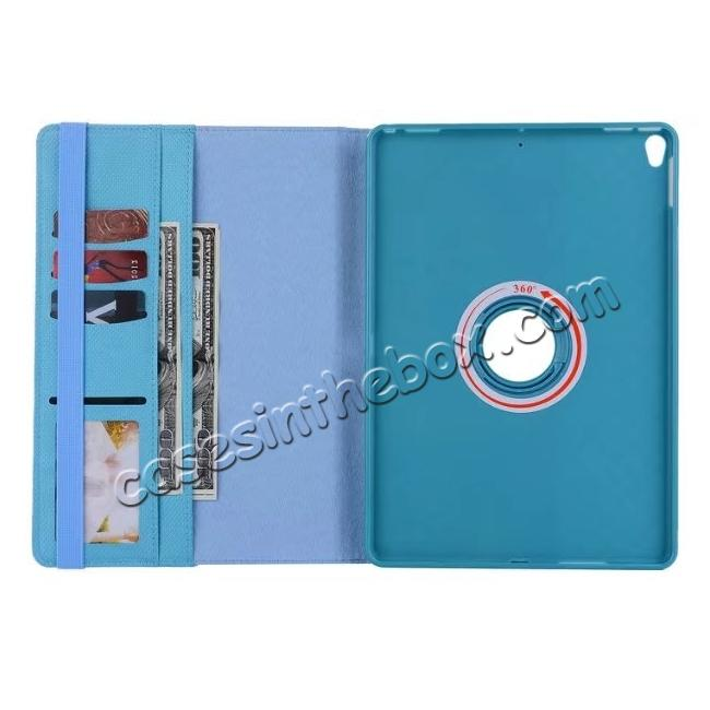 best price 360 Degree Rotating PU Leather Case With Stand For iPad Pro 10.5 inch - Light Blue