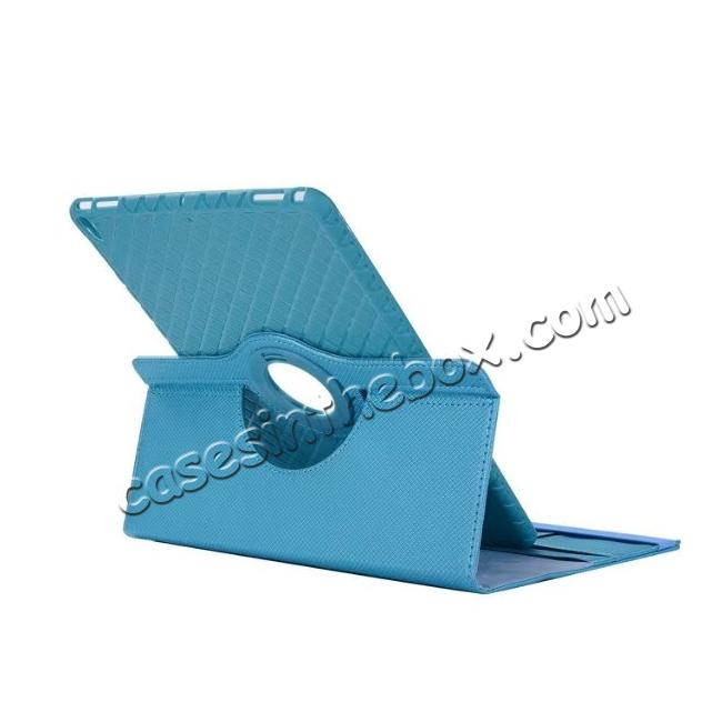 cheap 360 Degree Rotating PU Leather Case With Stand For iPad Pro 10.5 inch - Light Blue
