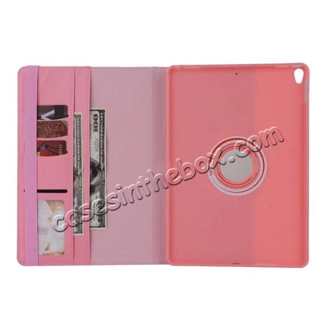 best price 360 Degree Rotating PU Leather Case With Stand For iPad Pro 10.5 inch - Pink