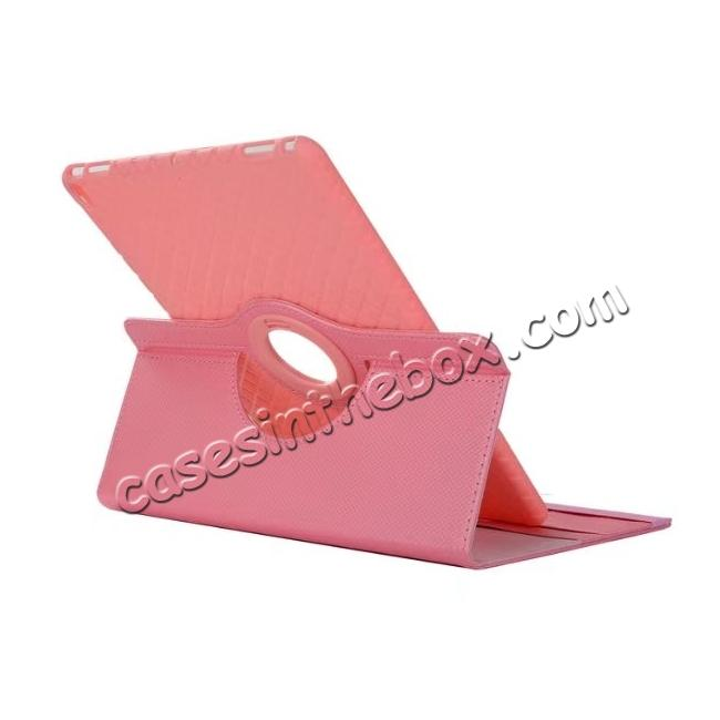 cheap 360 Degree Rotating PU Leather Case With Stand For iPad Pro 10.5 inch - Pink