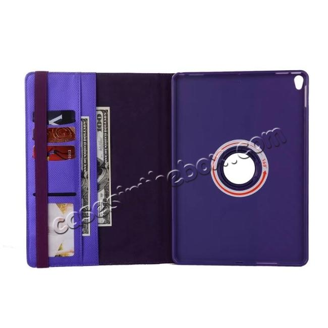 best price 360 Degree Rotating PU Leather Case With Stand For iPad Pro 10.5 inch - Purple
