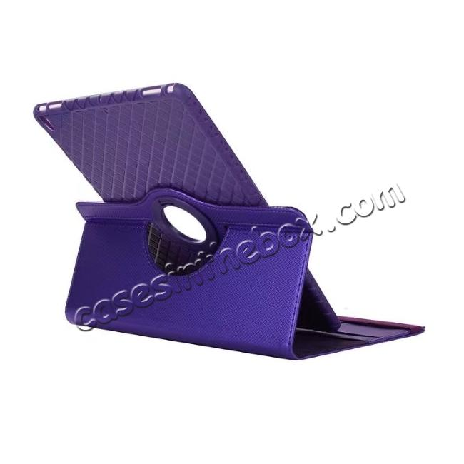 cheap 360 Degree Rotating PU Leather Case With Stand For iPad Pro 10.5 inch - Purple