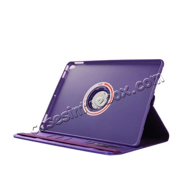 top quality 360 Degree Rotating PU Leather Case With Stand For iPad Pro 10.5 inch - Purple