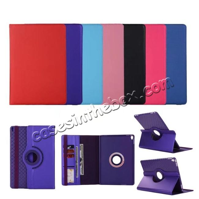 on sale 360 Degree Rotating PU Leather Case With Stand For iPad Pro 10.5 inch - Purple