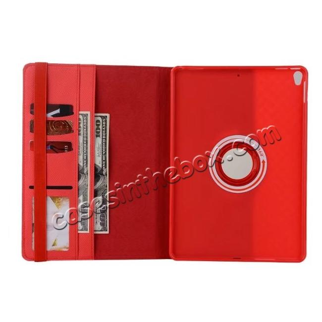 best price 360 Degree Rotating PU Leather Case With Stand For iPad Pro 10.5 inch - Red