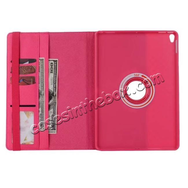 best price 360 Degree Rotating PU Leather Case With Stand For iPad Pro 10.5 inch - Rose