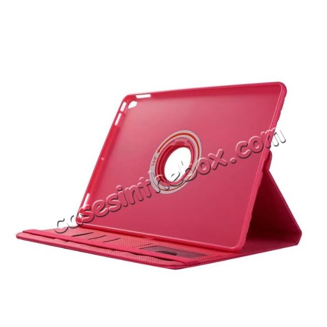 top quality 360 Degree Rotating PU Leather Case With Stand For iPad Pro 10.5 inch - Rose