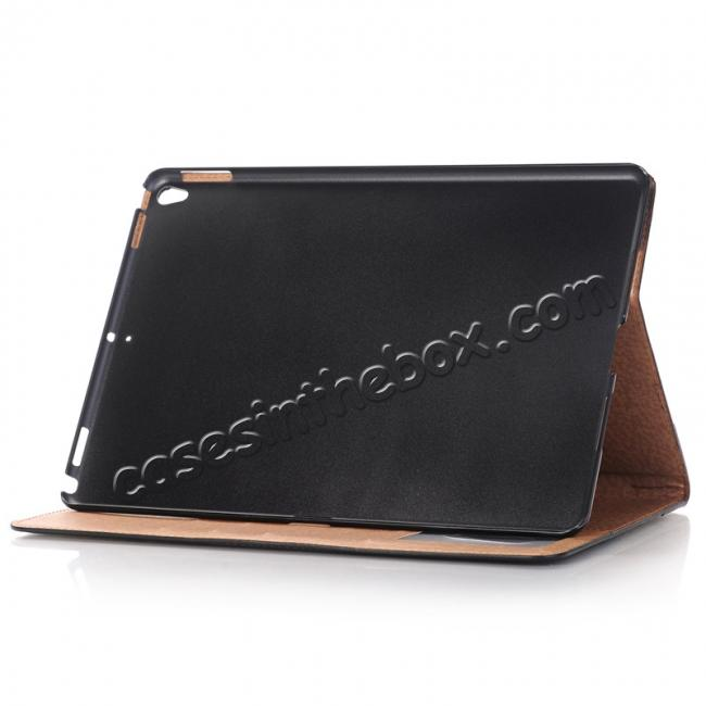 best price Business Book Style Leather Flip Stand Case for iPad Pro 10.5-inch - Black