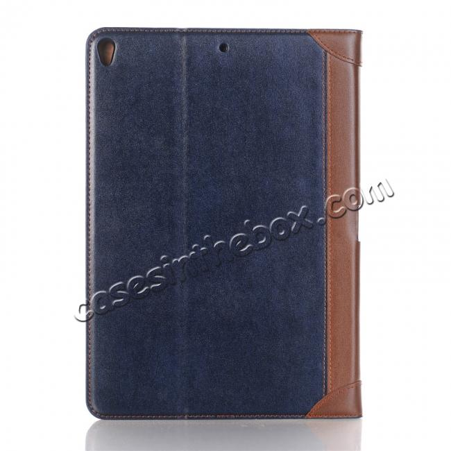discount Business Book Style Leather Flip Stand Case for iPad Pro 10.5-inch - Dark Blue