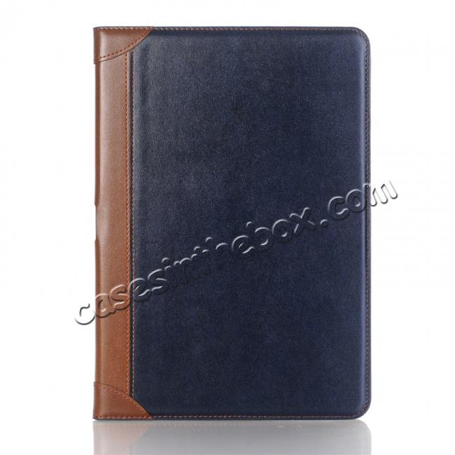 cheap Business Book Style Leather Flip Stand Case for iPad Pro 10.5-inch - Dark Blue