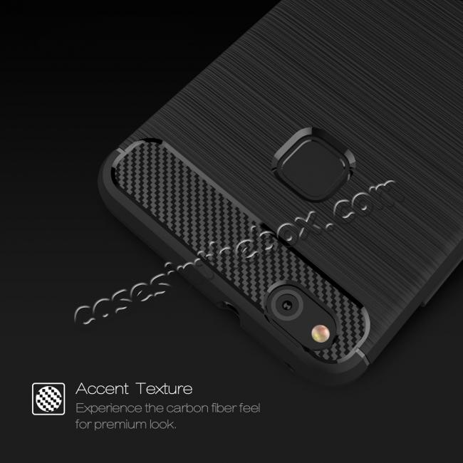 cheap Carbon Fiber Brushed Texture Shockproof Soft TPU Case For Huawei P10 Lite - Black