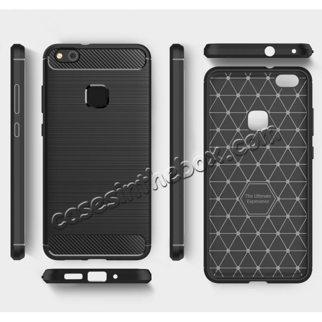 best price Carbon Fiber Brushed Texture Shockproof Soft TPU Case For Huawei P10 Lite - Black