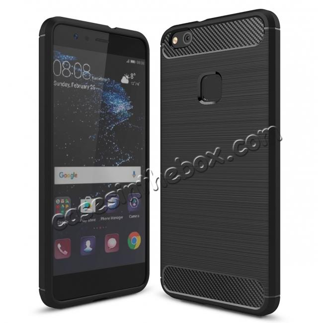wholesale Carbon Fiber Brushed Texture Shockproof Soft TPU Case For Huawei P10 Lite - Black
