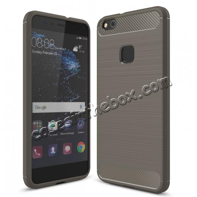 wholesale Carbon Fiber Brushed Texture Shockproof Soft TPU Case For Huawei P10 Lite - Gray