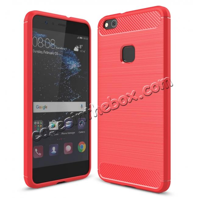 wholesale Carbon Fiber Brushed Texture Shockproof Soft TPU Case For Huawei P10 Lite - Red