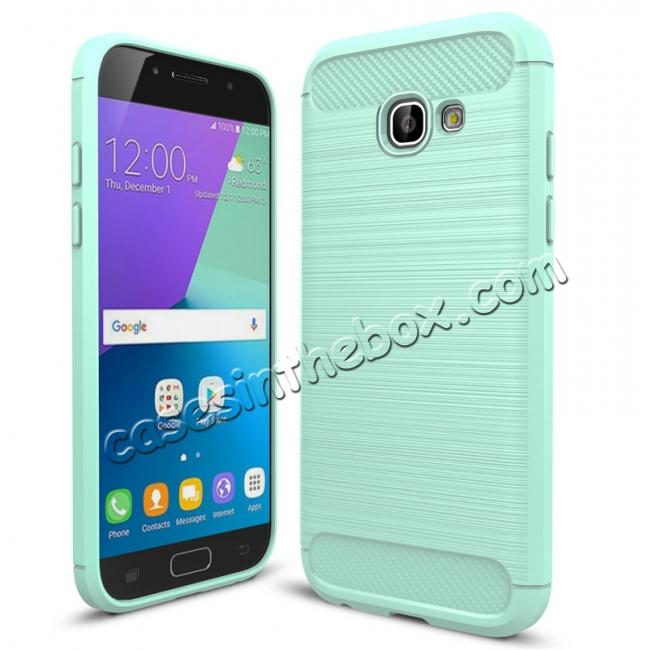 wholesale Case For Samsung Galaxy A5 2017 Carbon Fiber Brushed Rubber Bumper Soft TPU Case Cover - Mint