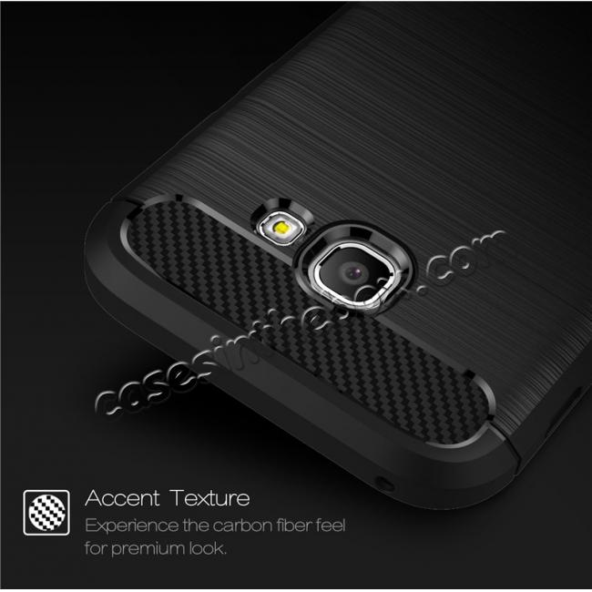 cheap Case For Samsung Galaxy A5 2017 Carbon Fiber Brushed Rubber Bumper Soft TPU Case Cover - Navy blue