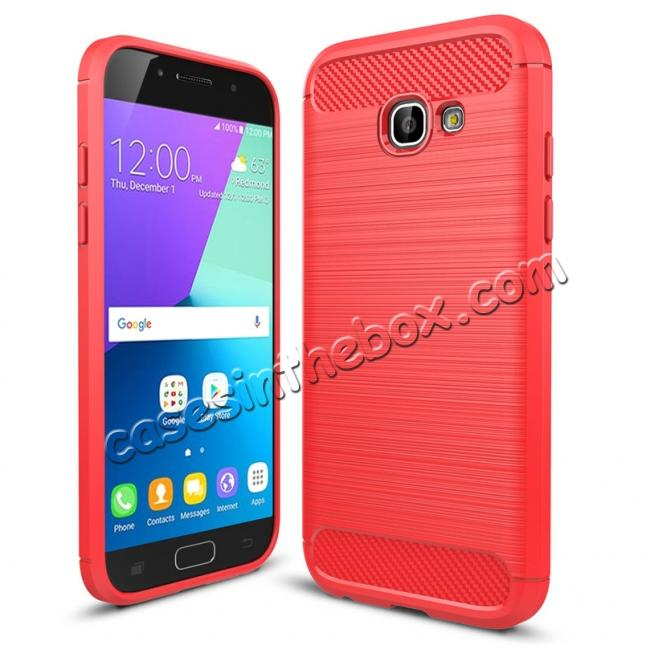 wholesale Case For Samsung Galaxy A5 2017 Carbon Fiber Brushed Rubber Bumper Soft TPU Case Cover - Red