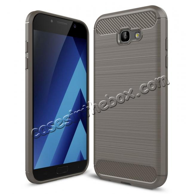 wholesale Case for Samsung Galaxy A7 2017 Carbon Fiber Texture Brushed Soft TPU Case Back Cover - Grey