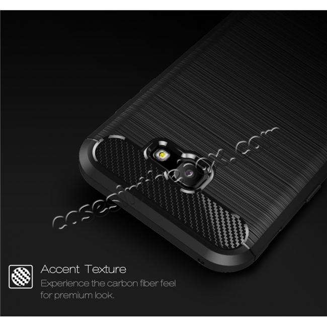cheap Case for Samsung Galaxy A7 2017 Carbon Fiber Texture Brushed Soft TPU Case Back Cover - Grey