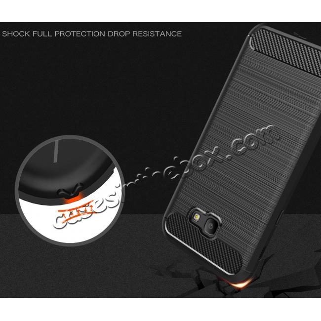 top quality Case for Samsung Galaxy A7 2017 Carbon Fiber Texture Brushed Soft TPU Case Back Cover - Grey