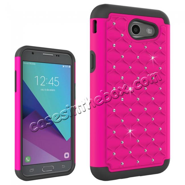 discount Case For Samsung Galaxy J3 Emerge Cover Hard Rubber Hybrid Diamond Bling Phone Skin - Hot pink&Black