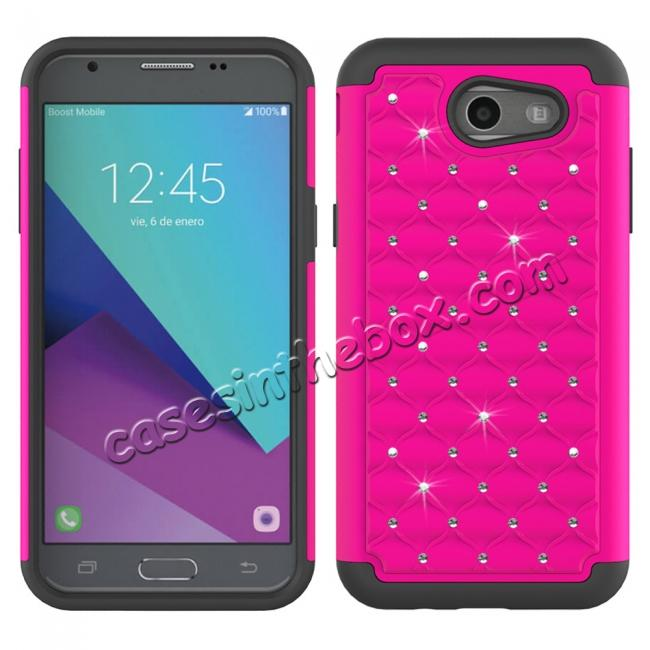 wholesale Case For Samsung Galaxy J3 Emerge Cover Hard Rubber Hybrid Diamond Bling Phone Skin - Hot pink&Black
