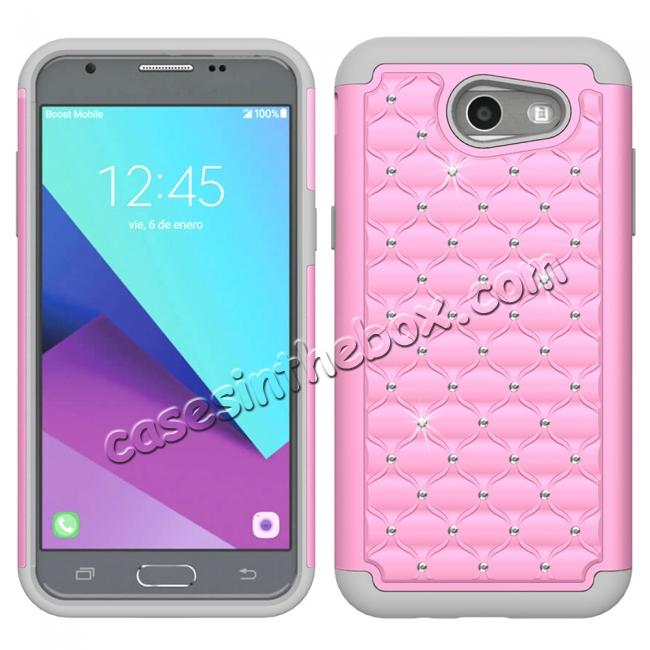 wholesale Case For Samsung Galaxy J3 Emerge Cover Hard Rubber Hybrid Diamond Bling Phone Skin - Pink&Gray