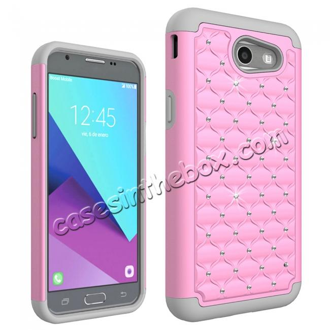 discount Case For Samsung Galaxy J3 Emerge Cover Hard Rubber Hybrid Diamond Bling Phone Skin - Pink&Gray