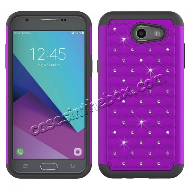 wholesale Case For Samsung Galaxy J3 Emerge Cover Hard Rubber Hybrid Diamond Bling Phone Skin - Purple&Black