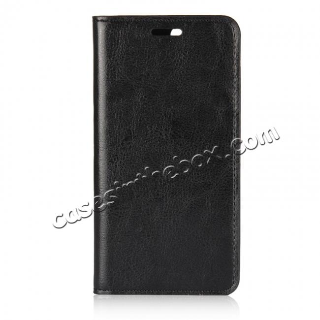 discount Crazy Horse Genuine Leather Flip Wallet Case Stand For Huawei Nova 2 - Black
