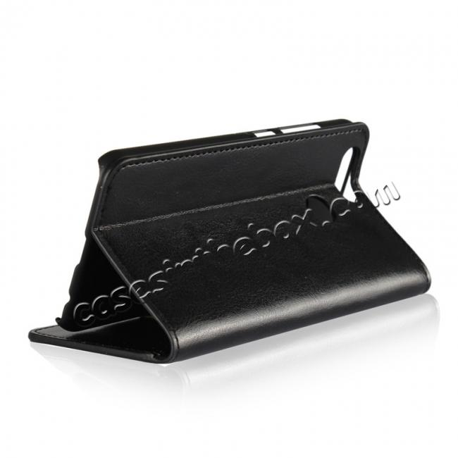 top quality Crazy Horse Genuine Leather Flip Wallet Case Stand For Huawei Nova 2 - Black