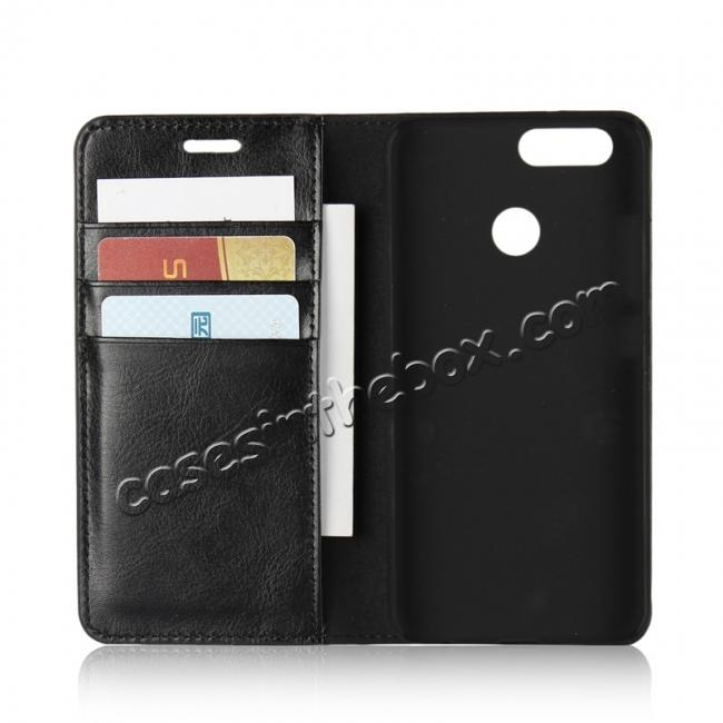best price Crazy Horse Genuine Leather Flip Wallet Case Stand For Huawei Nova 2 - Black
