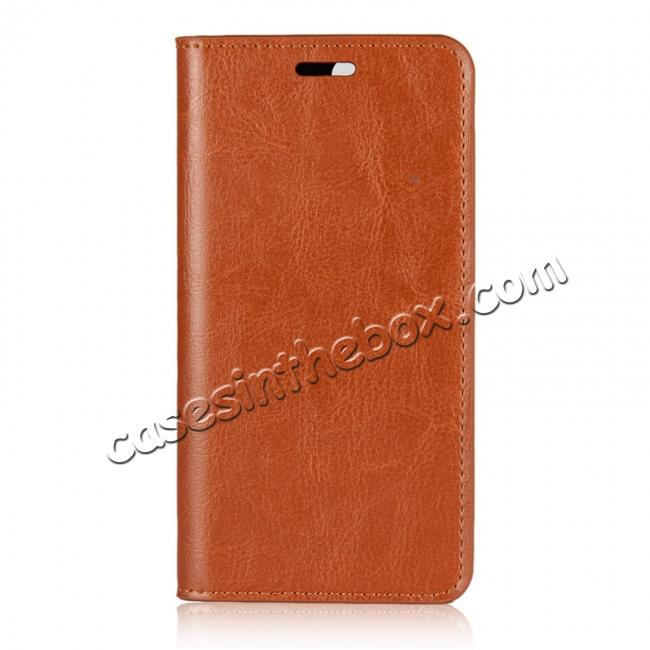 discount Crazy Horse Genuine Leather Flip Wallet Case Stand For Huawei Nova 2 - Brown