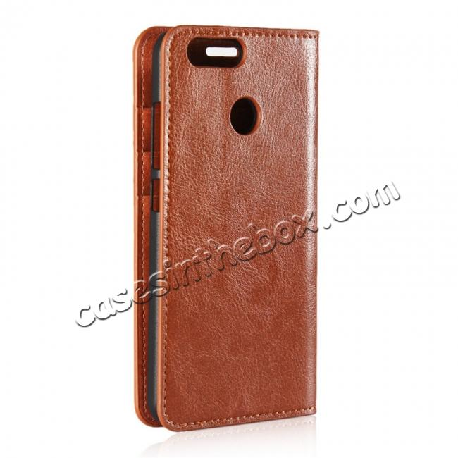 cheap Crazy Horse Genuine Leather Flip Wallet Case Stand For Huawei Nova 2 - Brown