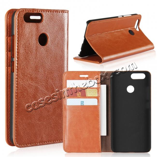 wholesale Crazy Horse Genuine Leather Flip Wallet Case Stand For Huawei Nova 2 - Brown