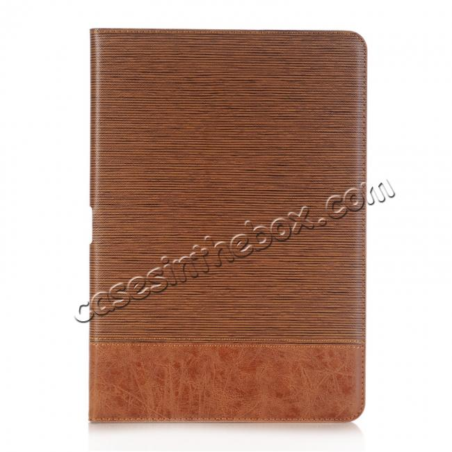 discount Cross Pattern PU Leather Flip Folio Wallet Card Holders Case for iPad Pro 10.5-inch - Brown