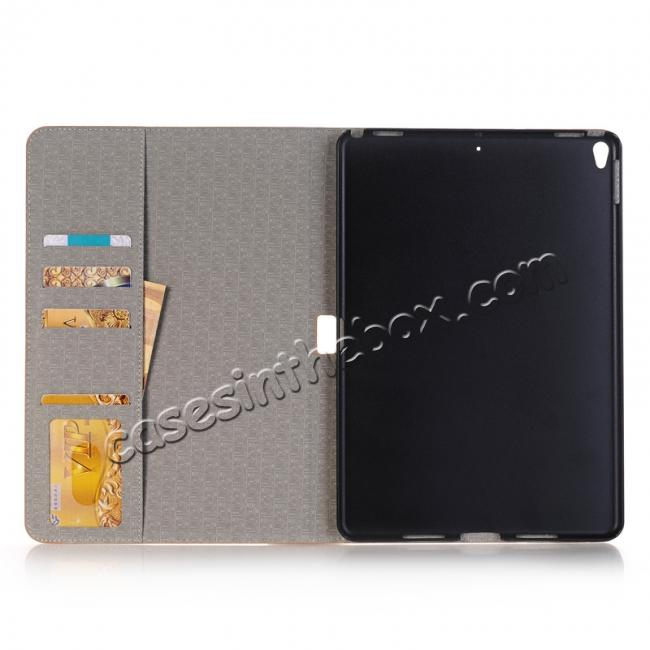top quality Cross Pattern PU Leather Flip Folio Wallet Card Holders Case for iPad Pro 10.5-inch - Brown