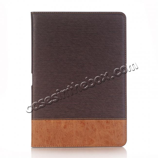 discount Cross Pattern PU Leather Flip Folio Wallet Card Holders Case for iPad Pro 10.5-inch - Coffee