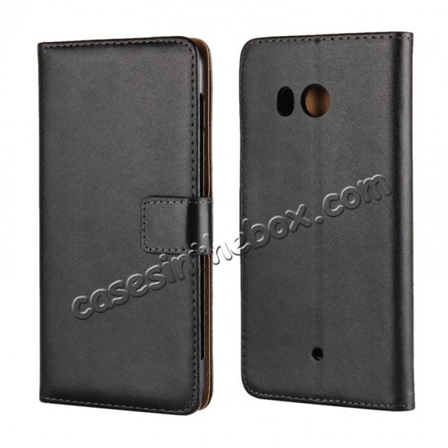 wholesale Genuine Leather Flip Case Stand Wallet Case Card Holder for HTC U11 Black
