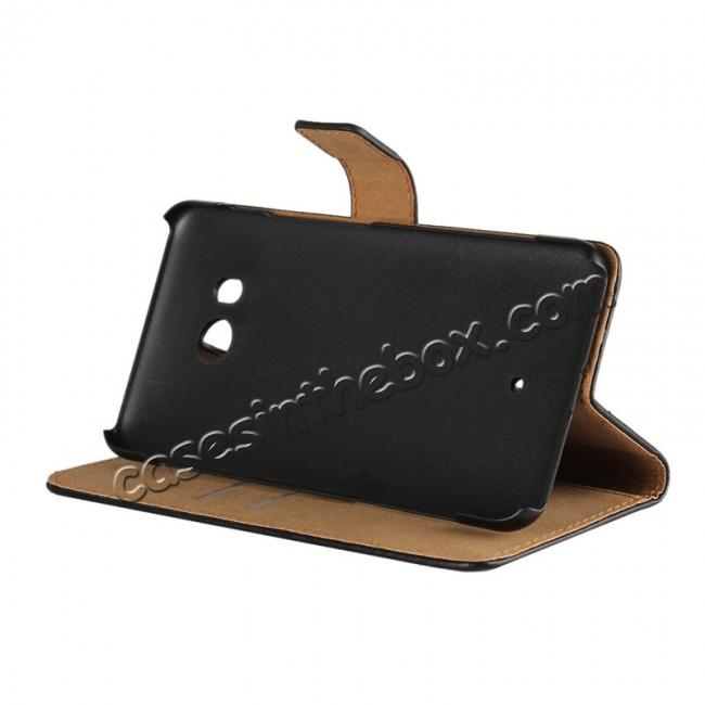 discount Genuine Leather Flip Case Stand Wallet Case Card Holder for HTC U11 Black
