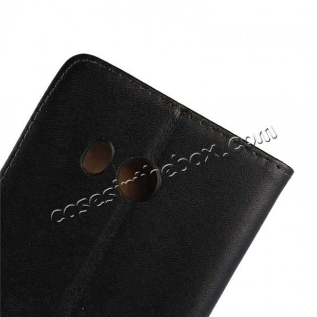 on sale Genuine Leather Flip Case Stand Wallet Case Card Holder for HTC U11 Black