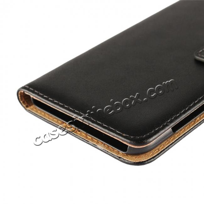 low price Genuine Leather Flip Case Stand Wallet Case Card Holder for HTC U11 Black