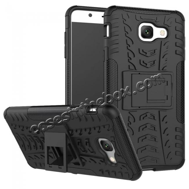 wholesale Hard and Soft TPU Hybrid Defender Kickstand Phone Case For Samsung Galaxy J7 Max - Black
