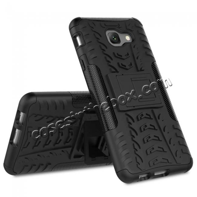 discount Hard and Soft TPU Hybrid Defender Kickstand Phone Case For Samsung Galaxy J7 Max - Black