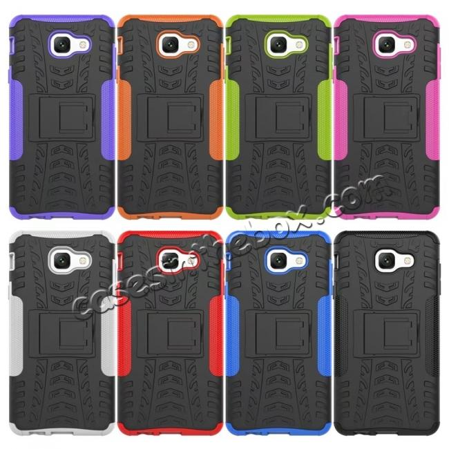 top quality Hard and Soft TPU Hybrid Defender Kickstand Phone Case For Samsung Galaxy J7 Max - Black