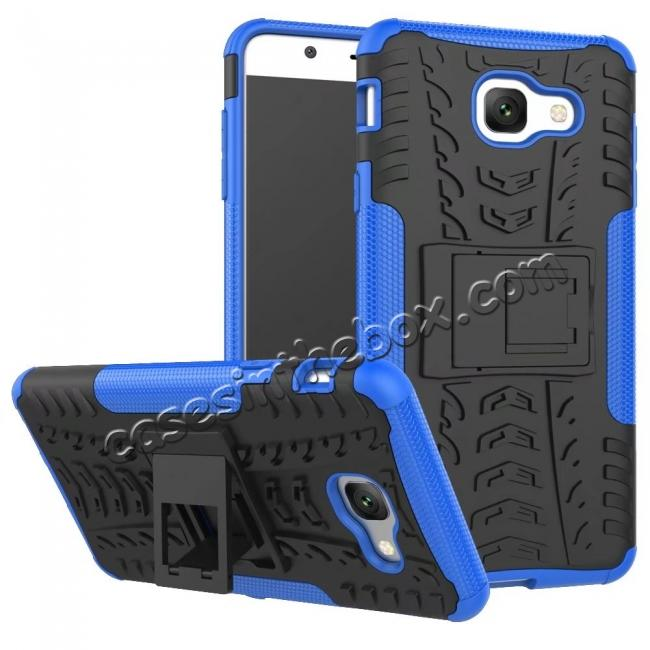 wholesale Hard and Soft TPU Hybrid Defender Kickstand Phone Case For Samsung Galaxy J7 Max - Blue
