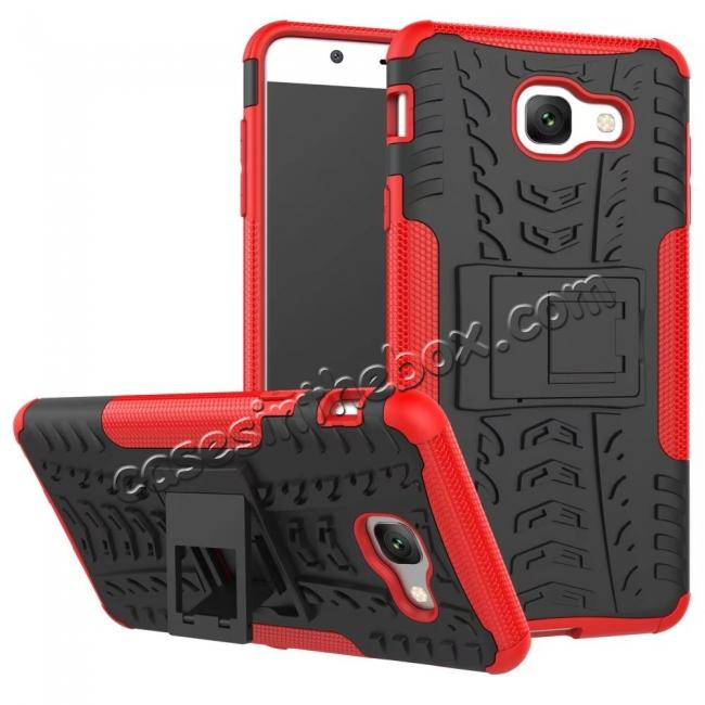 wholesale Hard and Soft TPU Hybrid Defender Kickstand Phone Case For Samsung Galaxy J7 Max - Red