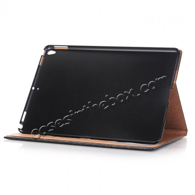 best price Luxury Crocodile Pattern Stand Book Leather Tablet Case For iPad Pro 10.5-inch - Black