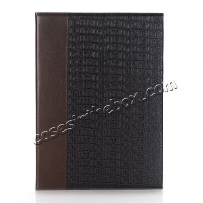 discount Luxury Crocodile Pattern Stand Book Leather Tablet Case For iPad Pro 10.5-inch - Coffee